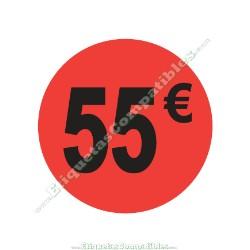 "Rollo 500 Etiquetas ""55 €"" Rojo Flúor"