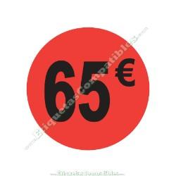 "Rollo 500 Etiquetas ""65 €"" Rojo Flúor"