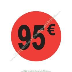 "Rollo 500 Etiquetas ""95 €"" Rojo Flúor"
