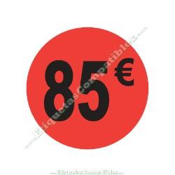 "Rollo 500 Etiquetas ""85 €"" Rojo Flúor"
