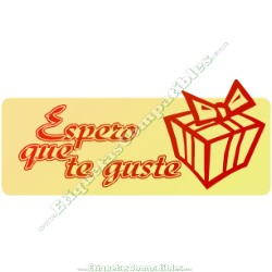 "Rollo 500 Etiquetas ""Espero que te guste"" Paquete Rojo"