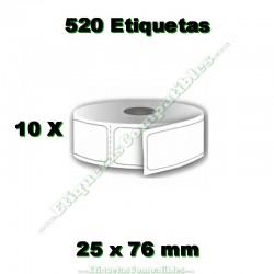 10 Rollos 25 x 76 mm