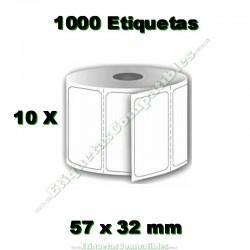 10 Rollos 57 x 32 mm