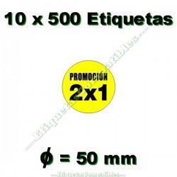 """10 Rollos 500 Etiquetas """"Promoción 2x1"""" círculo amarillo"""