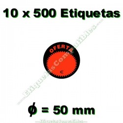 """10 Rollos 500 Etiquetas """"Oferta"""" círculo negro/rojo"""