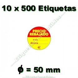 """10 Rollos 500 Etiquetas """"Precio Rebajado"""" círculo rojo/amarillo"""