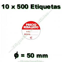 """10 Rollos 500 Etiquetas """"Precio Rebajado"""" círculo rojo/blanco"""
