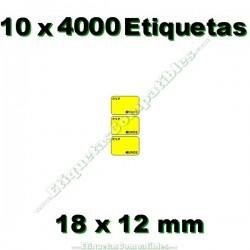 10 Rollos 4000 Etiquetas 18 x 12 mm PVP Euros amarillo flúor