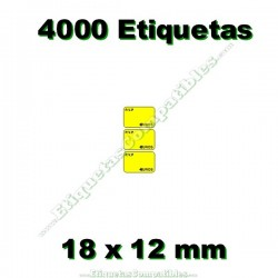 1 Rollo 4000 Etiquetas 18 x 12 mm PVP Euros amarillo flúor