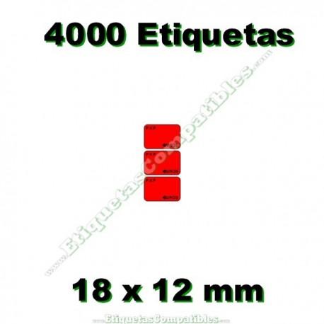 1 Rollo 4000 Etiquetas 18 x 12 mm PVP Euros rojo flúor