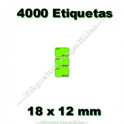 1 Rollo 4000 Etiquetas 18 x 12 mm PVP Euros verde flúor