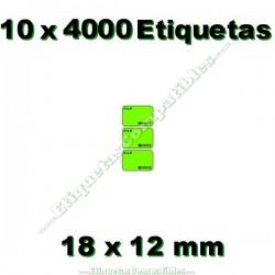 10 Rollos 4000 Etiquetas 18 x 12 mm PVP Euros verde flúor