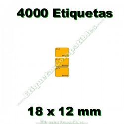 1 Rollo 4000 Etiquetas 18 x 12 mm PVP Euros naranja flúor