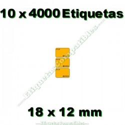 10 Rollos 4000 Etiquetas 18 x 12 mm PVP Euros naranja flúor
