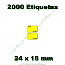 1 Rollo 2000 Etiquetas 24 x 18 mm PVP Euros amarillo flúor
