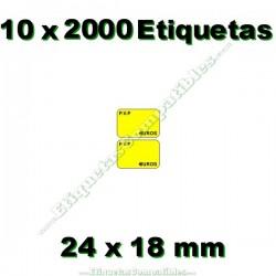 10 Rollos 2000 Etiquetas 24 x 18 mm PVP Euros amarillo flúor