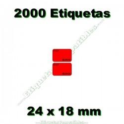 1 Rollo 2000 Etiquetas 24 x 18 mm PVP Euros rojo flúor