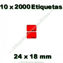 10 Rollos 2000 Etiquetas 24 x 18 mm PVP Euros rojo flúor