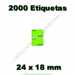 1 Rollo 2000 Etiquetas 24 x 18 mm PVP Euros verde flúor