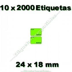 10 Rollos 2000 Etiquetas 24 x 18 mm PVP Euros verde flúor