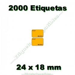 1 Rollo 2000 Etiquetas 24 x 18 mm PVP Euros naranja flúor