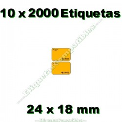 10 Rollos 2000 Etiquetas 24 x 18 mm PVP Euros naranja flúor