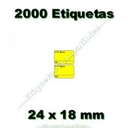 1 Rollo 2000 Etiquetas 24 x 18 mm PVP Euros + Ref amarillo flúor