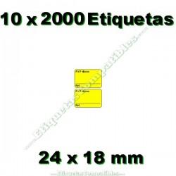 10 Rollos 2000 Etiquetas 24 x 18 mm PVP Euros + Ref amarillo flúor