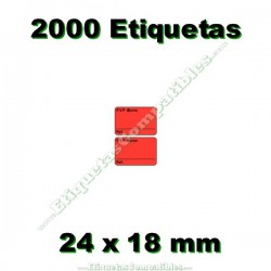1 Rollo 2000 Etiquetas 24 x 18 mm PVP Euros + Ref rojo flúor