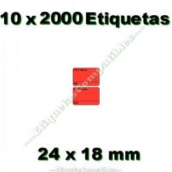 10 Rollos 2000 Etiquetas 24 x 18 mm PVP Euros + Ref rojo flúor