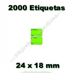1 Rollo 2000 Etiquetas 24 x 18 mm PVP Euros + Ref verde flúor
