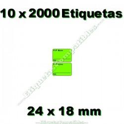 10 Rollos 2000 Etiquetas 24 x 18 mm PVP Euros + Ref verde flúor