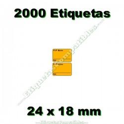 1 Rollo 2000 Etiquetas 24 x 18 mm PVP Euros + Ref naranja flúor