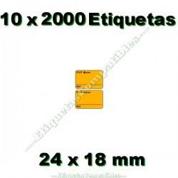 10 Rollos 2000 Etiquetas 24 x 18 mm PVP Euros + Ref naranja flúor