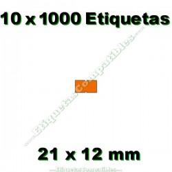 10 Rollos 1000 Etiquetas 21 x 12 mm recta naranja flúor