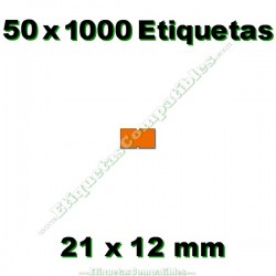 50 Rollos 1000 Etiquetas 21 x 12 mm recta naranja flúor