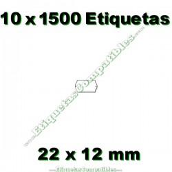 10 Rollos 1500 Etiquetas 22 x 12 mm ondulada blanco