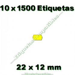 10 Rollos 1500 Etiquetas 22 x 12 mm ondulada amarillo flúor