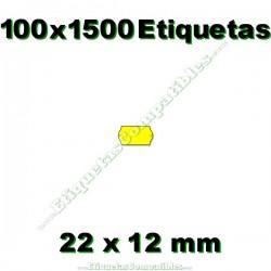 100 Rollos 1500 Etiquetas 22 x 12 mm ondulada amarillo flúor
