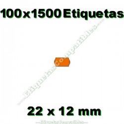 100 Rollos 1500 Etiquetas 22 x 12 mm ondulada naranja flúor