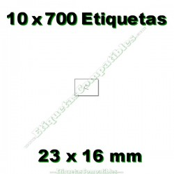 10 Rollos 700 Etiquetas 23 x 16 mm recta blanco