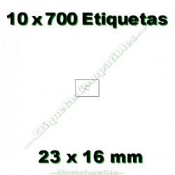 10 Rollos 700 Etiquetas 23 x 16 mm recta blanco
