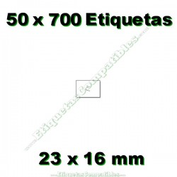 50 Rollos 700 Etiquetas 23 x 16 mm recta blanco