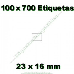 100 Rollos 700 Etiquetas 23 x 16 mm recta blanco