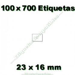 100 Rollos 700 Etiquetas 23 x 16 mm recta blanco
