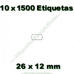 10 Rollos 1500 Etiquetas 26 x 12 mm ondulada blanco