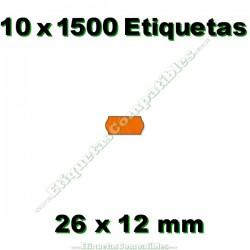 10 Rollos 1500 Etiquetas 26 x 12 mm ondulada naranja flúor