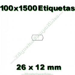 100 Rollos 1500 Etiquetas 26 x 12 mm ondulada blanco
