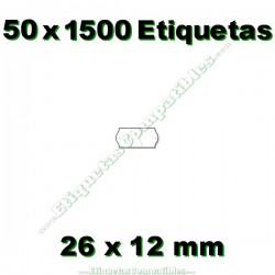 50 Rollos 1500 Etiquetas 26 x 12 mm ondulada blanco