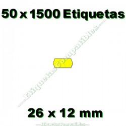 50 Rollos 1500 Etiquetas 26 x 12 mm ondulada amarillo flúor